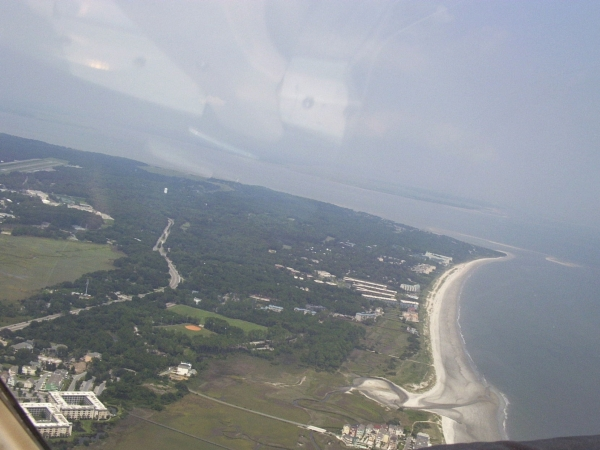 Burkes Beach, Folly Field and Port Royal from an airplane